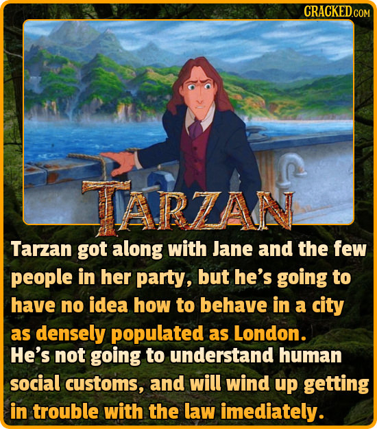 IARZAN Tarzan got along with Jane and the few people in her party, but he's going to have no idea how to behave in a city as densely populated as Lond
