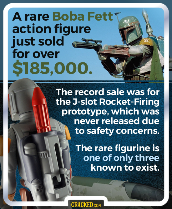 A rare Boba Fett action figure just sold for over $185,000. The record sale was for the J-slot Rocket-Firing prototype, which was never released due t