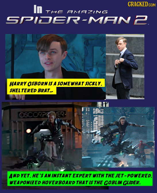 In THE ANtAING SPIDER-MAN2 HARRY OSBORN IS A SOMEWHAT SICKLY. SHEL TERED BRAT OSCORPCYER AND YET. HE'S AN INSTANT EXPERT WITH THE JET-POWERED. WEAPONI