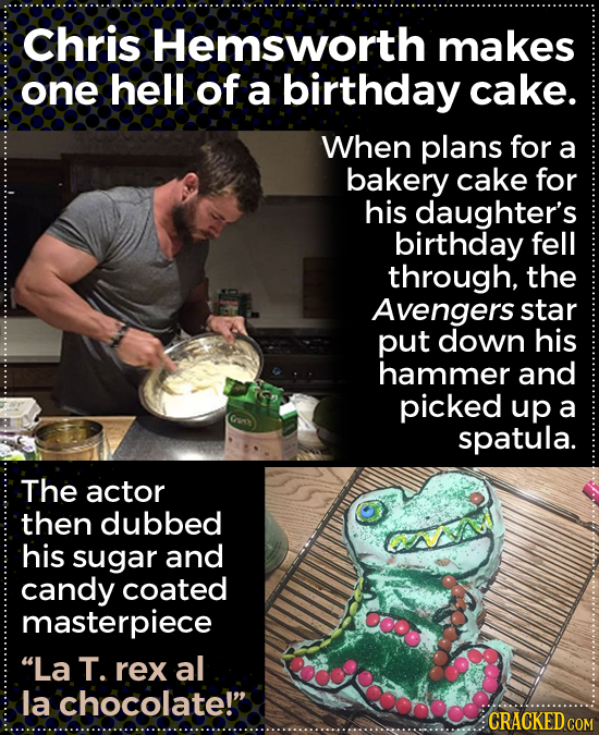 Chris Hemsworth makes one hell of a birthday cake. When plans for a bakery cake for his daughter's birthday fell through, the Avengers star put down h