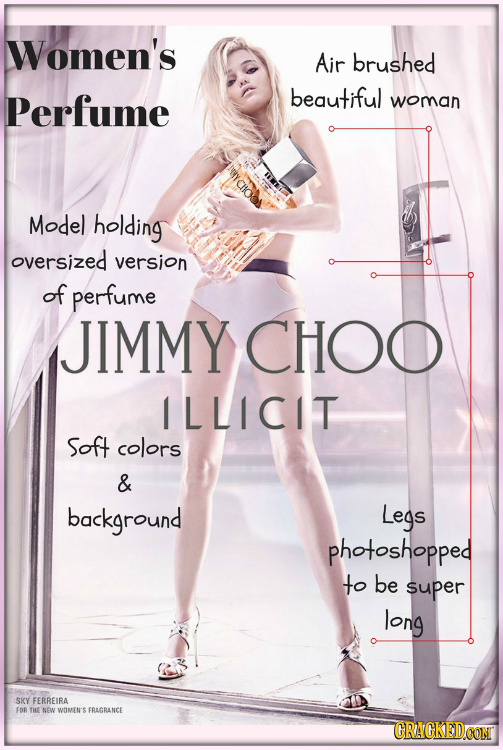 Women's Air brushed Perfume beautiful woman Model holding oversized version of perfume JIMMY CHOO ILLICIT Soft colors & background Legs photoshopped t
