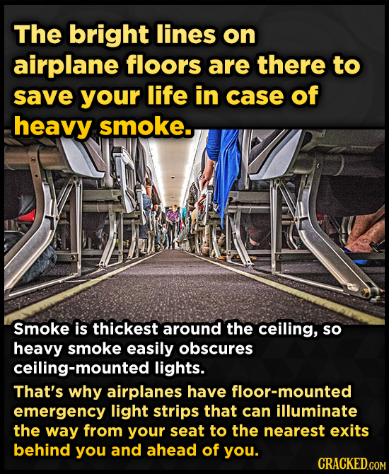 The bright lines on airplane floors are there to save your life in case of heavy smoke. Smoke is thickest around the ceiling, sO heavy smoke easily ob
