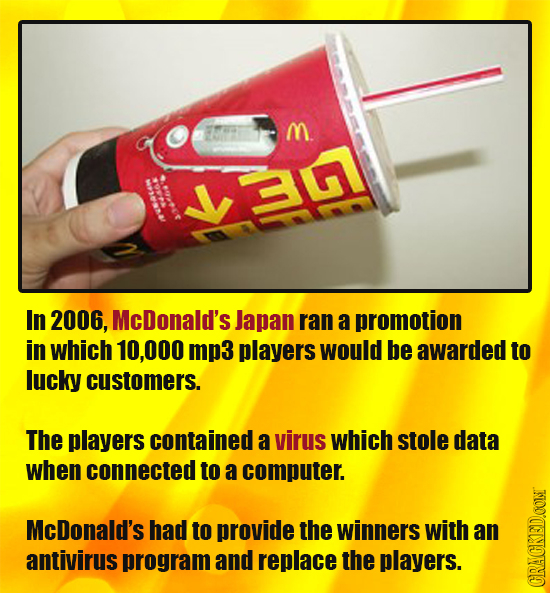 M a In 2006, McDonald's Japan ran a promotion in whicH 10,000 mp3 players would be awarded to lucky customers. The players contained a virus which sto