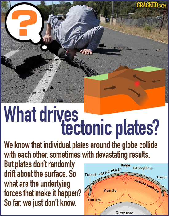 CRACKED ? What drives tectonic plates? We know that individual plates around the globe collide with each other, sometimes with devastating results. Bu