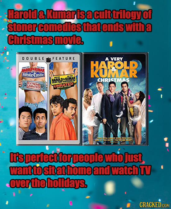 Harold & Kumar is a cult trilogy of stoner comedies that ends with a Christmas movie. DOUBLE FEATURE A VERY HAROLD DAKUMAR KUMAR Ubiteastle HAROLD&KUM
