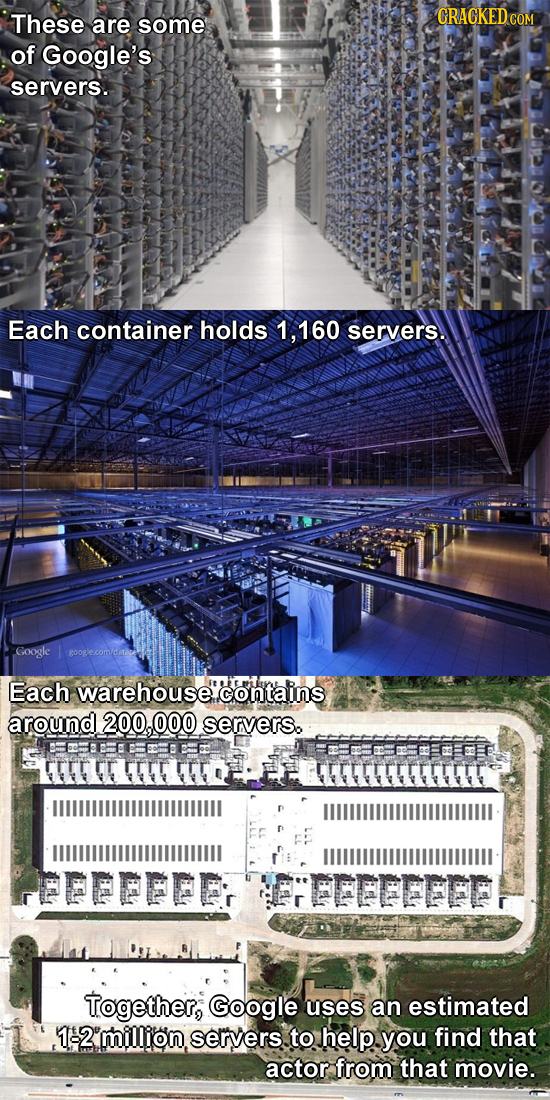 These are some of Google's servers. Each container holds 160 servers. Google Each warehouse contains around 200,000 servers. EE U TEEE EEED PEPFPER FE