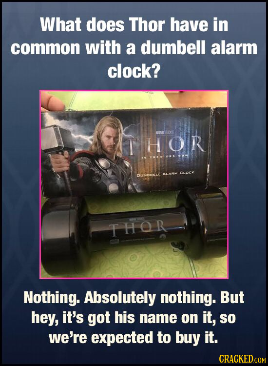What does Thor have in common with a dumbell alarm clock? VONEL THOR DUMBELE ALARM CLOCK THOR Nothing. Absolutely nothing. But hey, it's got his name
