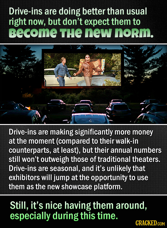 Drive-ins are doing better than usual right now, but don't expect them to becomE THE new norm. Drive-ins are making significantly more money at the mo