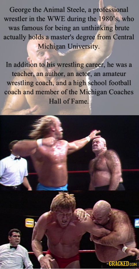 George the Animal Steele, a professional wrestler in the WWe during the 1980's, who was famous for being an unthinking brute actually holds a master's