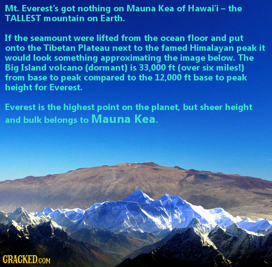 Mt. Everest's got nothing on Mauna Kea of Hawai'i - the TALLEST mountain on Earth. If the seamount were lifted from the ocean floor and put onto the T