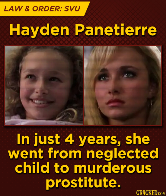 LAW & ORDER: SVU Hayden Panetierre In just 4 years, she went from neglected child to murderous prostitute.