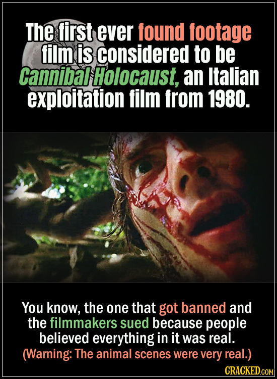 18 Horror Movies That Did It First - The first ever found footage film is considered to be Cannibal Holocaust, an Italian exploitation film from 1980.