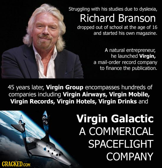 Struggling with his studies due to dyslexia, Richard Branson dropped out of school at the age of 16 and started his own magazine. A natural entreprene