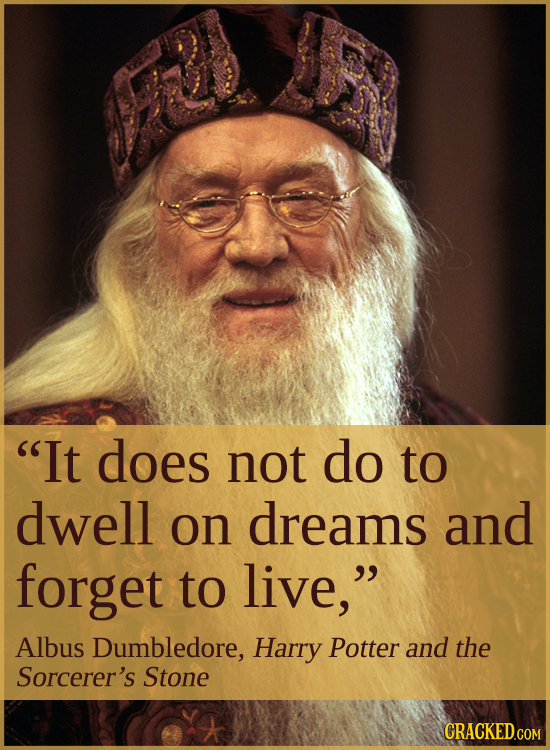 It does not do to dwell on dreams and forget to live, Albus Dumbledore, Harry Potter and the Sorcerer's Stone