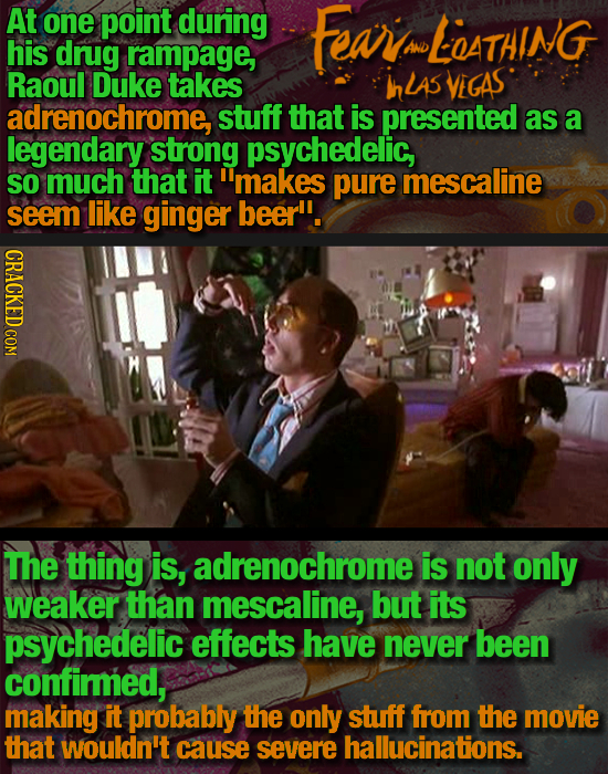 At one point during Feari LATAING his drug rampage, AND Raoul Duke takes InLAS VEGAS adrenochrome stuff that is presented as a legendary strong psyche