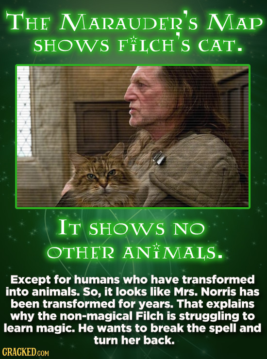 THE MARAUDER'S MAp SHOWS FIICH'S CAT. IT SHOWS NO OTHER ANIMALS. Except for humans who have transformed into animals. So, it looks like Mrs. Norris ha