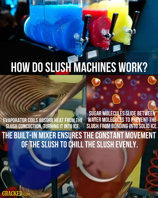HOW DO SLUSH MACHINES WORK? SUGAR MOLECULES SLIDE BETWEEN EVAPORATOR COILS ABSORB HEAT FROM THE WATER MOLECULES TO PREVENT THE SLUSH CONCOCTION. TURNI