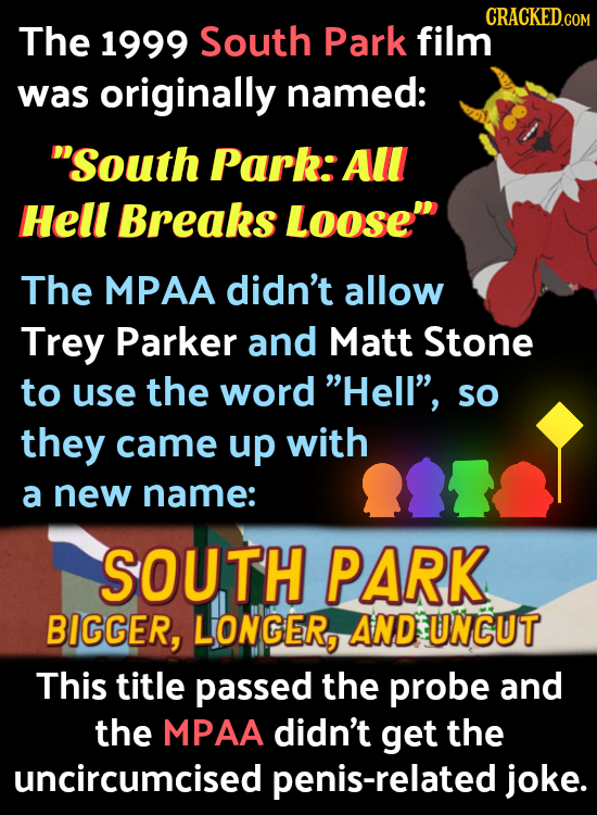 The 1999 South Park film was originally named: South Park:All Hell Breaks LoOSE The MPAA didn't allow Trey Parker and Matt Stone to use the word He