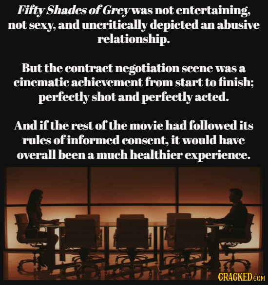 Fifty Shades of Grey was not entertaining, not sexy, and uncritically depicted an abusive relationship. But the contract negotiation scene was a cinem