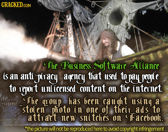 CRACKED.COM The Business Sof ftware Aliance is an anti piracy agency that used to pay pegle to report nlicensed content on the internet. The group has
