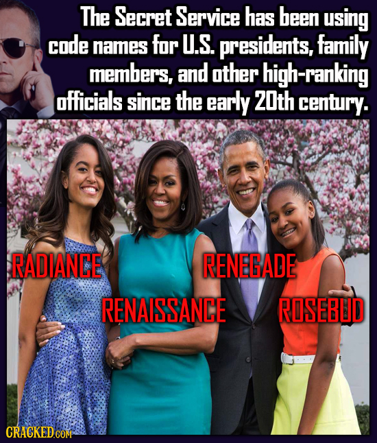 The Secret Service has been using code names for U.S. presidents, family members, and other high-ranking officials since the early Z0th century. RADIA