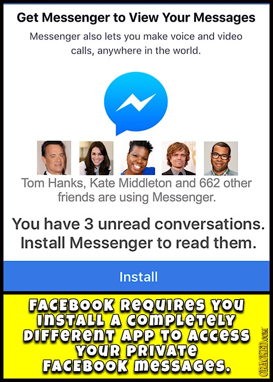 Get Messenger to View Your Messages Messenger also lets you make voice and video calls, anywhere in the world. Tom Hanks, Kate Middleton and 662 other