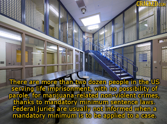 c. VYE There are more than two dozen people in the US serving life imprisonment, with no possibility of parole, for marijuana-related non-violent crim