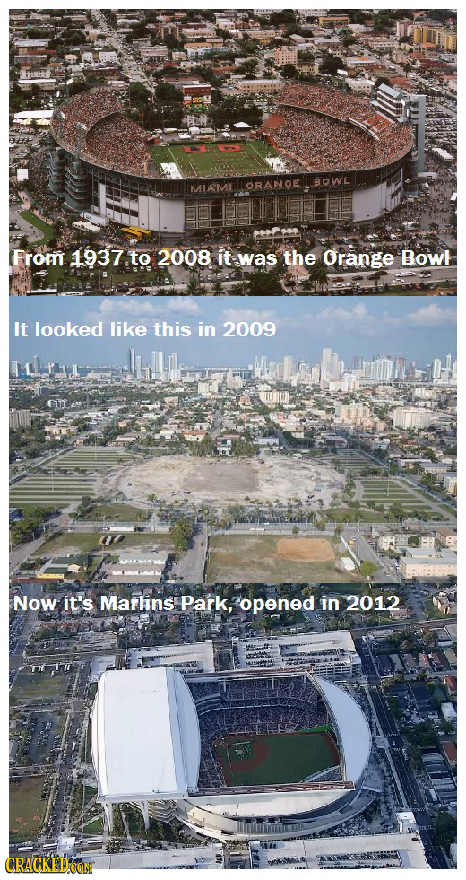 OR.ANGE BOWL From 1937 to 2008 it was the Orange Bowi It looked like this in 2009 Now it's Marlins Park, opened in 2012 CRACKED COM