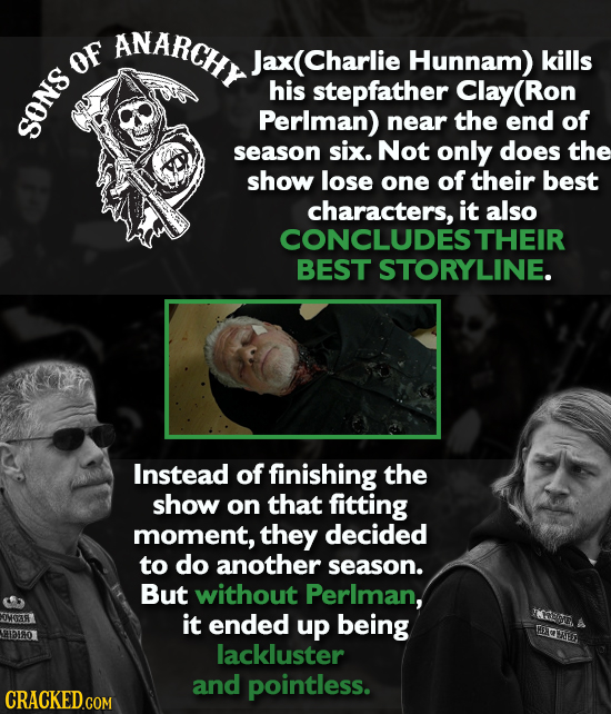 ANARCHY x(Charlie OF Hunnam) kills his stepfather Clay(Ron Perlman) near the end of SONS season six. Not only does the show lose one of their best cha