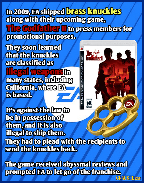In 2009, EA shipped brass knuckles along with their upcoming game, The Godfather to press members for promotional purposes. They soon learned that the