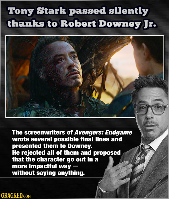 Tony Stark passed silently thanks to Robert Downey Jr. The screenwriters of Avengers: Endgame wrote several possible final lines and presented them to