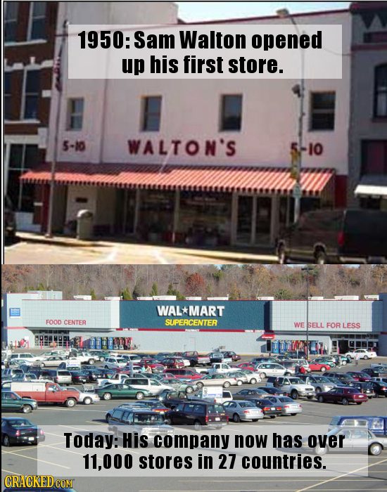 1950: Sam Walton opened up his first store. 5-10 WALTON'S 5-I0 WAL*MART F00D CENTER SUPEACENTER WE SELL FOR LESS Today: His company now has over 11,00