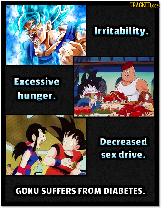 CRACKEDo COM Irritability. Excessive hunger. Decreased sex drive. GOKU SUFFERS FROM DIABETES.