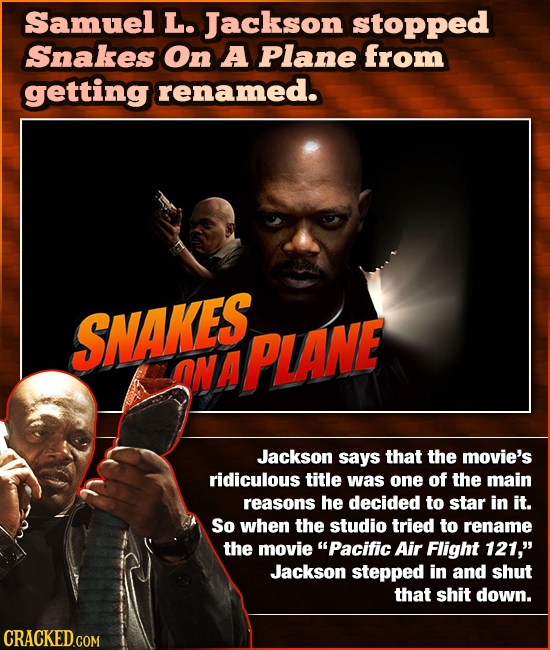 Samuel L. Jackson stopped Snakes On A Plane from getting renamed. SNAKES. ONA PLANE Jackson says that the movie's ridiculous title was one of the main