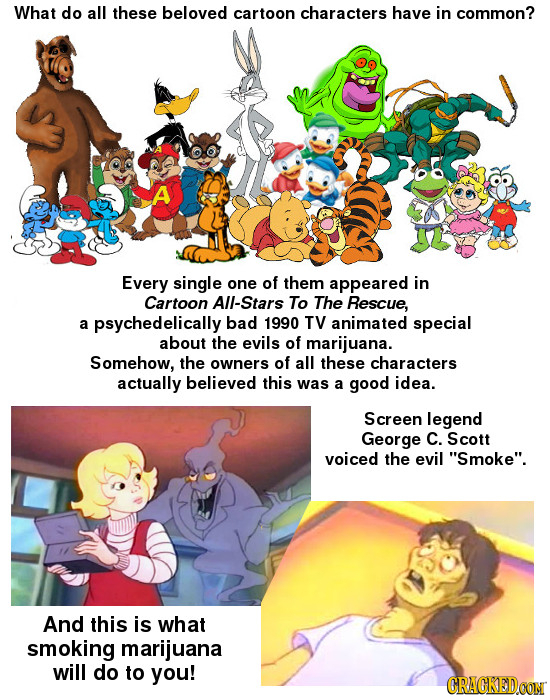 What do all these beloved cartoon characters have in common? A Every single one of them appeared in Cartoon All-Stars To The Rescue, a psychedelically