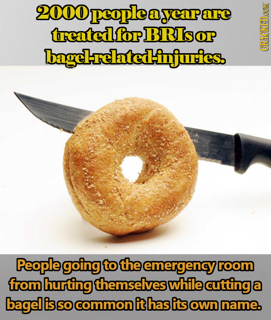 2000 people a yeare are treated for BRIsorP bagelrelated-injuries. CRaN People going to the emergency room from hurting themselves while cutting a bag
