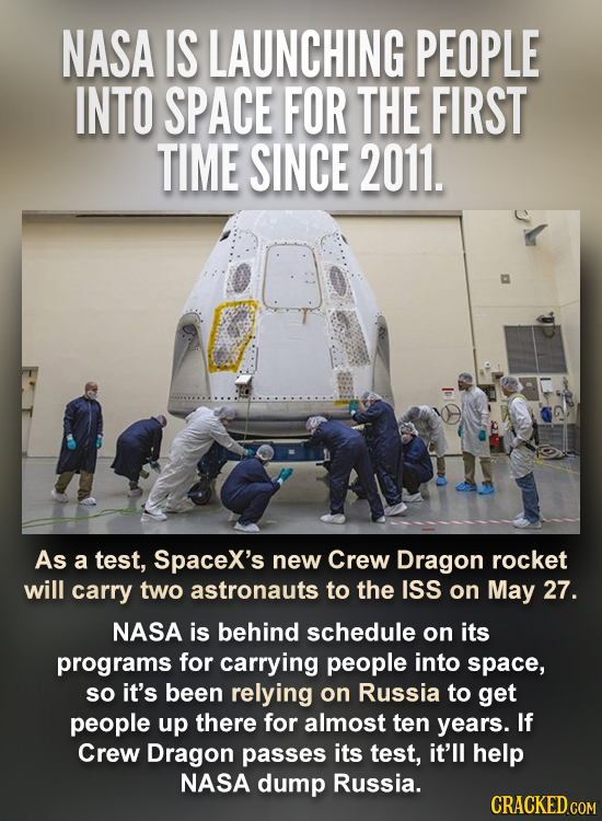 NASA IS LAUNCHING PEOPLE INTO SPACE FOR THE FIRST TIME SINCE 2011. As a test, Spacex's new Crew Dragon rocket will carry two astronauts to the ISS on