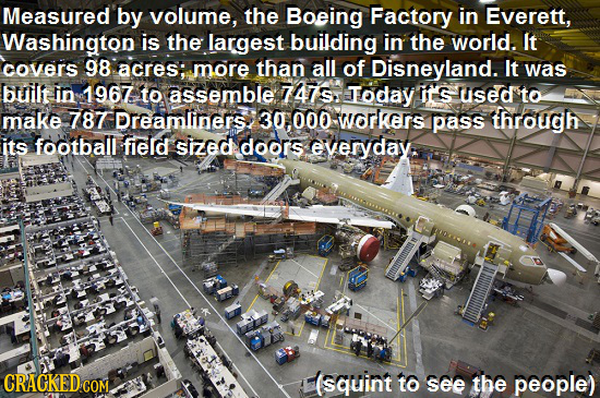 Measured by volume, the Boeing Factory in Everett, Washington is the largest building in the world. It covers 98 acres: more than all of Disneyland. I