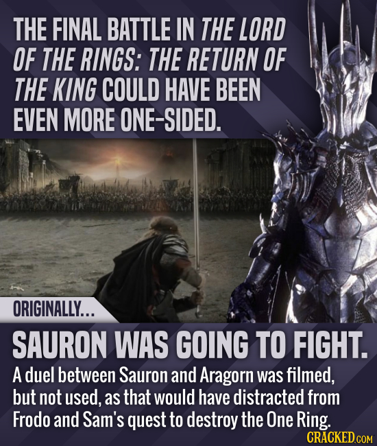 THE FINAL BATTLE IN THE LORD OF THE RINGS: THE RETURN OF THE KING COULD HAVE BEEN EVEN MORE ONE-SIDED. ORIGINALLY... SAURON WAS GOING TO FIGHT. A duel