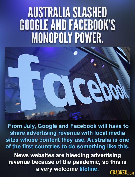 AUSTRALIA SLASHED GOOGLE AND FACEBOOK'S MONOPOLY POWER. face aceboo From July, Google and Facebook will have to share advertising revenue with local m