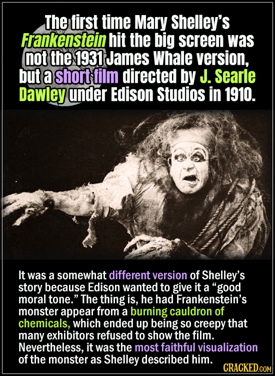 18 Horror Movies That Did It First- The first time Mary Shelley's Frankenstein hit the big screen was not the 1931 James Whale version, but a short fi