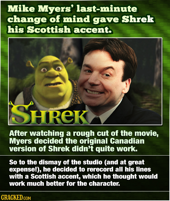Mike Myers' last-minute change of mind gave Shrek his Scottish accent. SHREK After watching a rOugh cut of the movie, Myers decided the original Canad