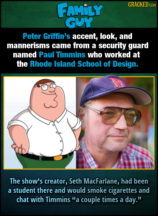FAMILY CRACKED CO GUY Peter Griffin's accent, look, and mannerisms came from a security guard named Paul Timmins who worked at the Rhode Island School