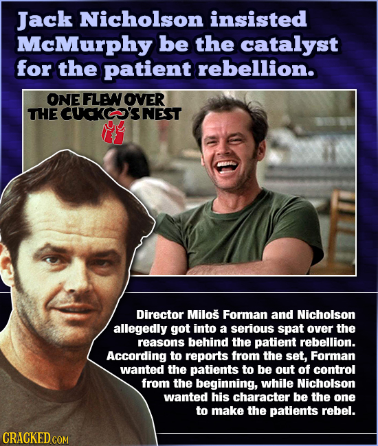 Jack Nicholson insisted McMurphy be the catalyst for the patient rebellion. ONE FLE OVER THE CUCKC'SNEST Director Milos Forman and Nicholson allegedly