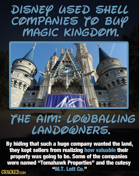 DISNEY USED SHELL COMPANIES TO Buy MAGIC KINGDOM. THE AIm: LOWBALLING LANDOWNERS. By hiding that such a huge company wanted the land, they kept seller