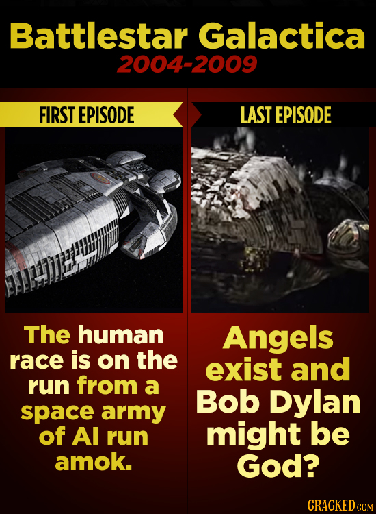 Battlestar Galactica 2004-2009 FIRST EPISODE LAST EPISODE The human Angels race is on the exist and run from a Bob Dylan space army of Al run might be