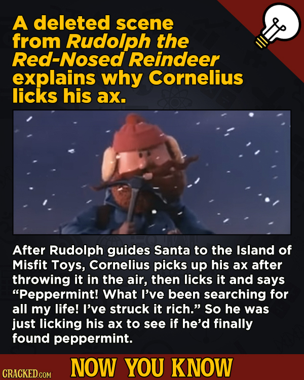 13 Surprising Facts About Movies (And A Ton Of Other Things) - A deleted scene from Rudolph the Red-Nosed Reindeer explains why Cornelius licks his