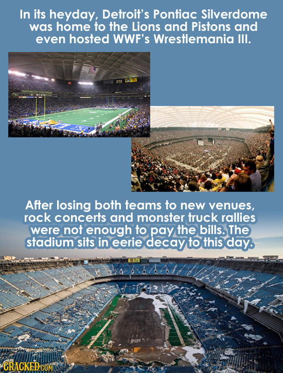 In its heyday, Detroit's Pontiac Silverdome was home to the Lions and Pistons and even hosted WWF'S Wrestlemania III. After losing both teams to new v