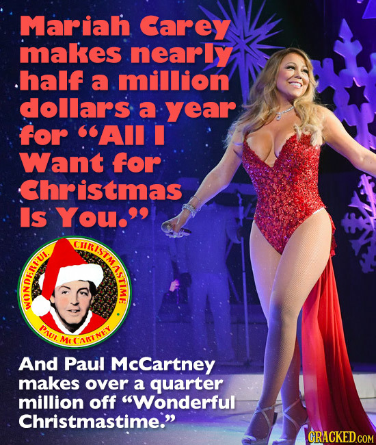Mariah Carey makes nearly half a million dollars a year for AII Want for Christmas Is You. CIIRISTM SISTMASTA ASTIME f PAUL MEEARINIY And Paul McCar