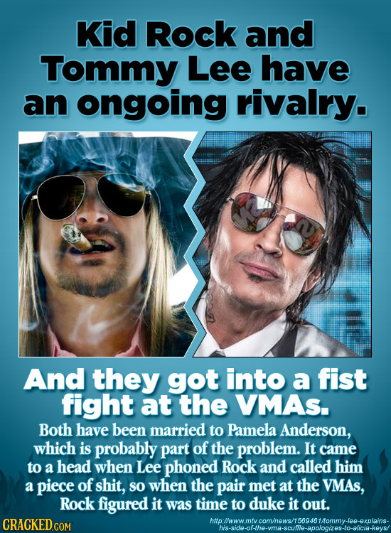 Kid Rock and Tommy Lee have an ongoing rivalry. And they got into a fist fight at the VMAS. Both have been married to Pamela Anderson, which is probab